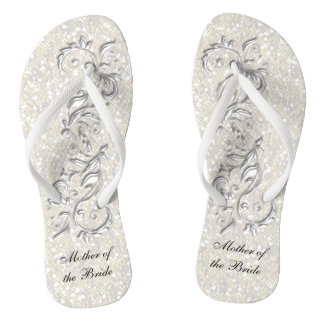 White Metallic Floral & Confetti Glitter | Wedding Thongs