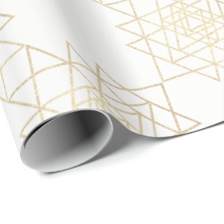 White Metallic Gold Hexagon Geometry Champaign Wrapping Paper