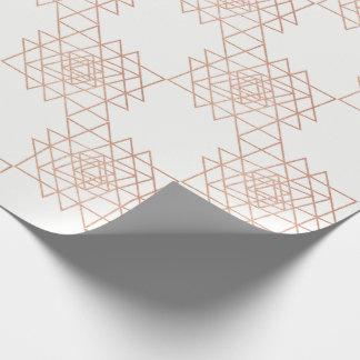 White Metallic Rose Gold Hexagon Geometry Wrapping Paper