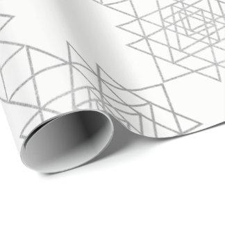 White Metallic Silver Gray Hexagon Geometry Wrapping Paper