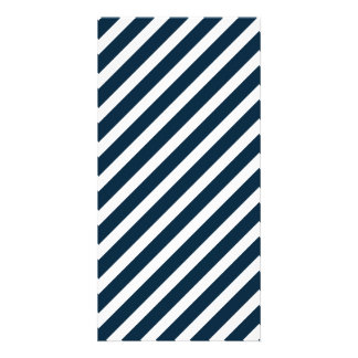 White & Midnight Blue Candy Cane Christmas Stripes Picture Card