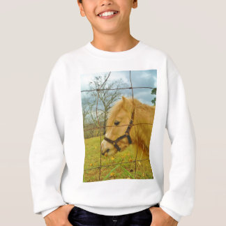 White miniature Horse  light blue Sweatshirt