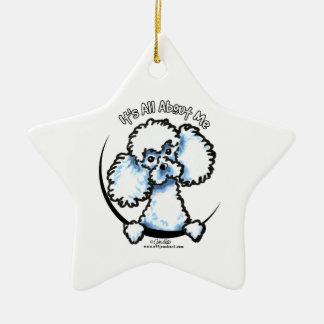 White Miniature Toy Poodle IAAM Ceramic Ornament