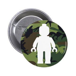 White Minifig in front of Camo 6 Cm Round Badge