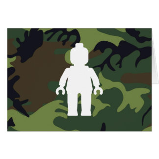White Minifig in front of Camo Greeting Card