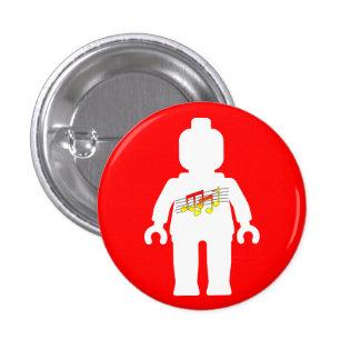 White Minifig with Music Logo 3 Cm Round Badge