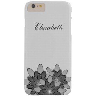 White Minimal with Gray Floral Lotus Personalized Barely There iPhone 6 Plus Case