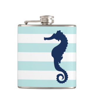 White Mint & Blue Wide Stripes Pattern Seahorse Hip Flask