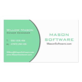 White & Mint Green Technology Business Card