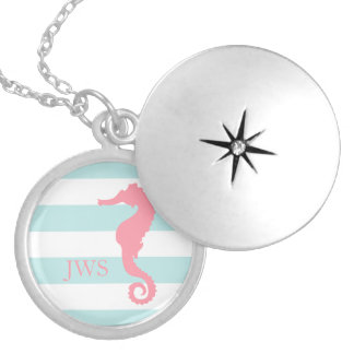 White Mint Pink Monogram Stripes Seahorse Round Locket Necklace