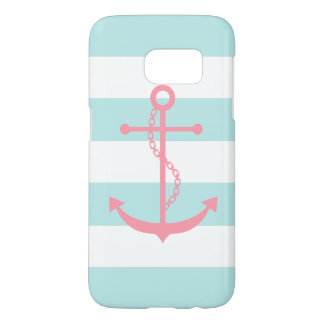 White Mint Pink Wide Stripes Pattern Anchor