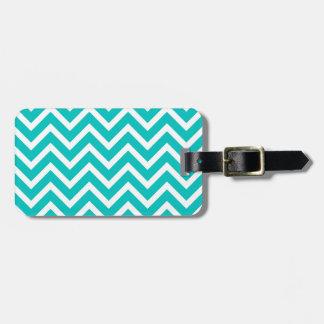 white mint white zig zag pattern design luggage tag