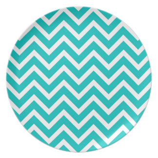 white mint white zig zag pattern design plate