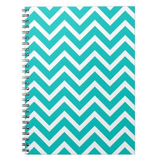 white mint white zig zag pattern design spiral note books