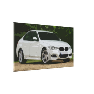 White Modern Car with Forest Background Canvas