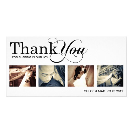 WHITE MODERN THANKS   WEDDING THANK YOU CARD PHOTO CARDS