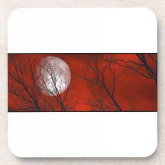 White Moon Red Sky Coasters
