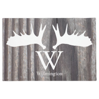 White Moose Antlers Weathered Wood - Personalized Doormat