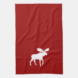 White Moose Silhouette Tea Towel
