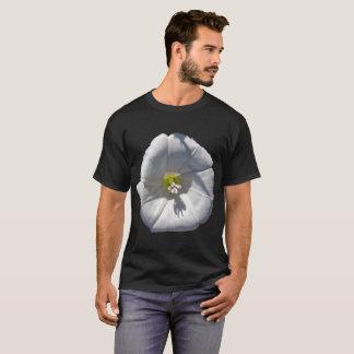 White Morning Glory flower shown on T-Shirt