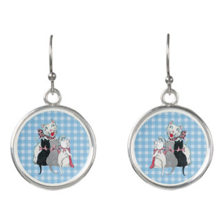 White Mother Cat Three Kittens Bows on Plaid Earrings