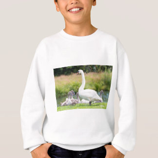 White mother swan with young chicks sweatshirt