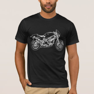 White Motorcycle Drawing T-Shirt