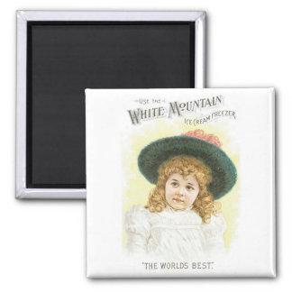 White Mountain Ice Cream Freezer Square Magnet