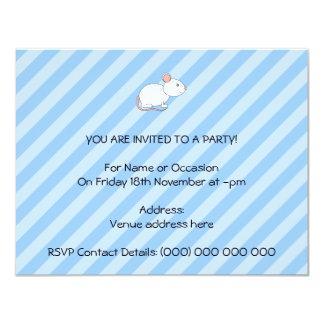 White Mouse. 11 Cm X 14 Cm Invitation Card