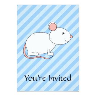 White Mouse. 13 Cm X 18 Cm Invitation Card