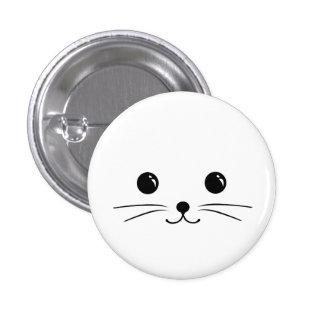 White Mouse Cute Animal Face Design Button