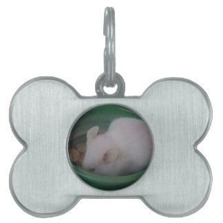 White Mouse in Food Bowl Pet ID Tag