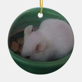 White Mouse in Food Bowl Round Ceramic Decoration