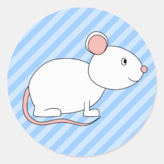 White Mouse. Round Sticker
