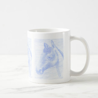 White mug horse drawing