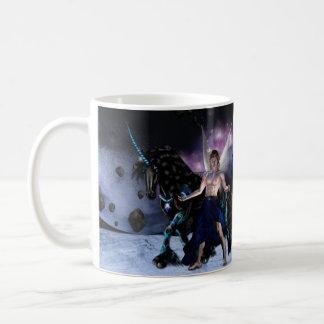 White Mug - Orion fairy wizard and his unicorn