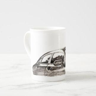 White mug / tea cup with car art