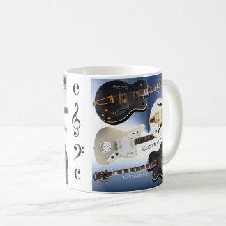 White Mug with Beautiful Electric Guitars Decor
