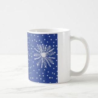 white mug with snowflake design