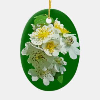 White Multiflora Roses Wildflower Ceramic Oval Decoration