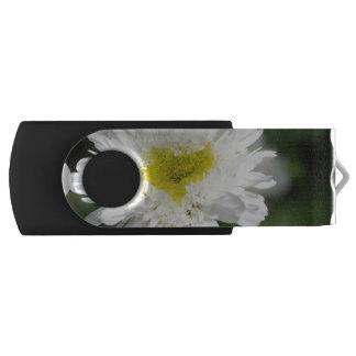 White Mums Swivel USB 2.0 Flash Drive