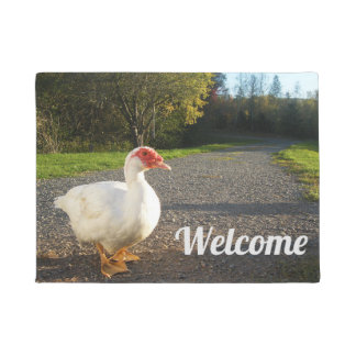 White Muscovy Duck Drake Welcome Doormat