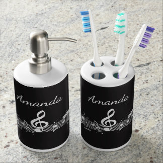 White Musical Notes Design Bathroom Products Bath Sets