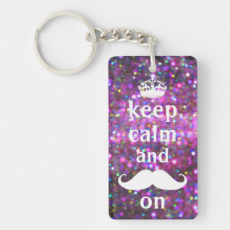 White Mustache With Purple And Pink Sparkle Single-Sided Rectangular Acrylic Key Ring