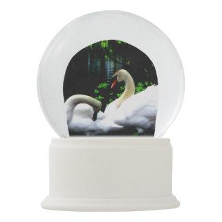 White Mute Swans Snow Globe