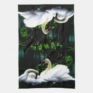 White Mute Swans Tea Towel