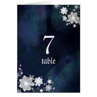 White n Navy Blue Winter Wedding Table Numbers
