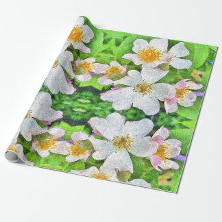 White 'n Pink Roses wrappingpaper, floral feminine