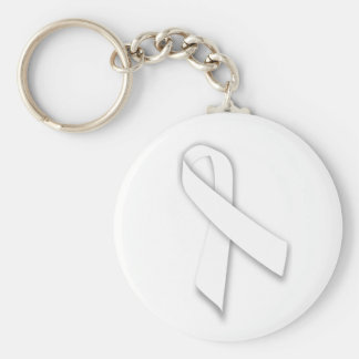 White National Day of Remembrance Ribbon Basic Round Button Key Ring