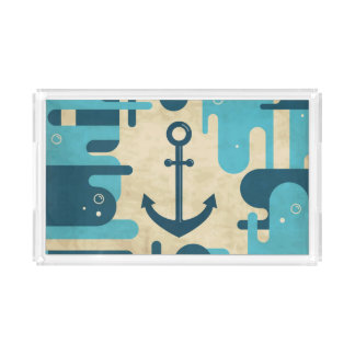 White Nautical Anchor Design with Rope Acrylic Tray